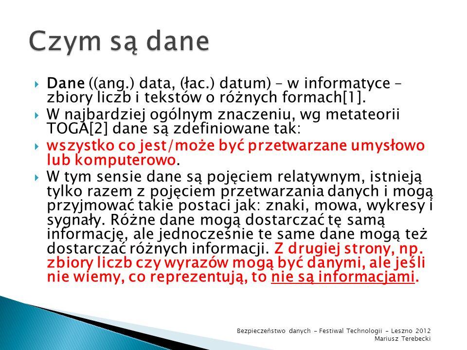 Czym są dane Dane ((ang.) data, (łac.) datum) – w informatyce – zbiory liczb i tekstów o różnych formach[1].